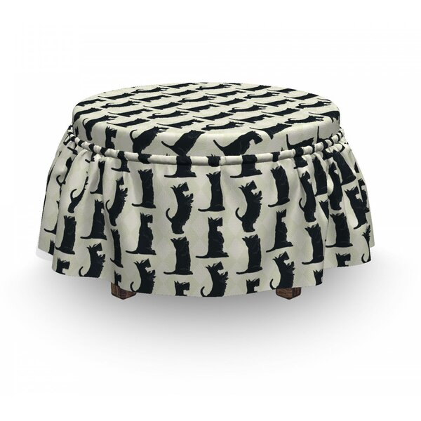Checkered Rhombus Motif Ottoman Slipcover (Set Of 2) By East Urban Home