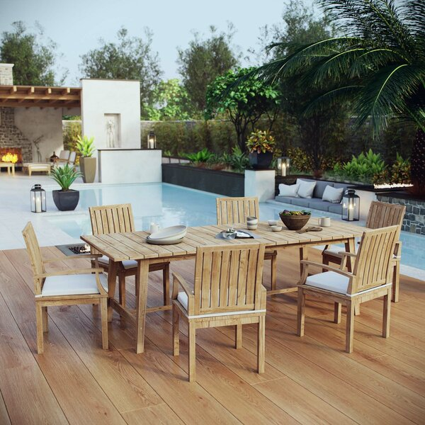 Christian Outdoor Patio 7 Piece Teak Dining Set with Cushions by Rosecliff Heights