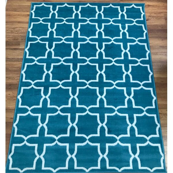 Dunlin Geometric Blue/Cream Area Rug by Astoria Grand