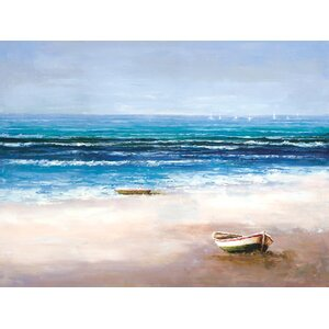 'On The Beach' Painting Print on Wrapped Canvas by Breakwater Bay