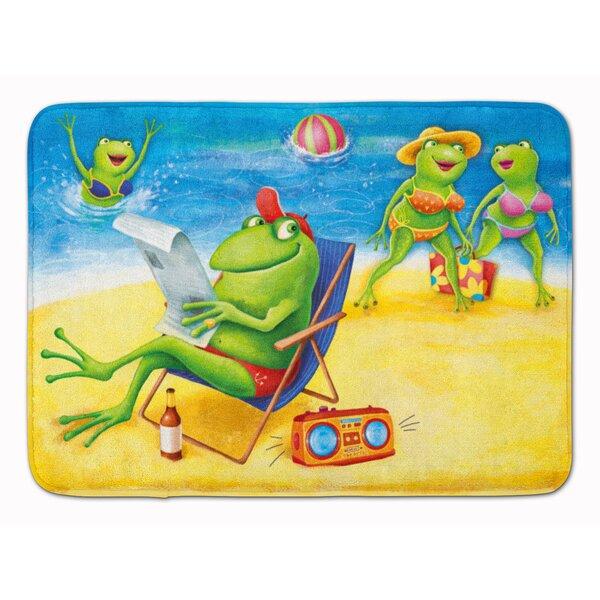 Frogs on the Beach Rectangle Microfiber Non-Slip Bath Rug