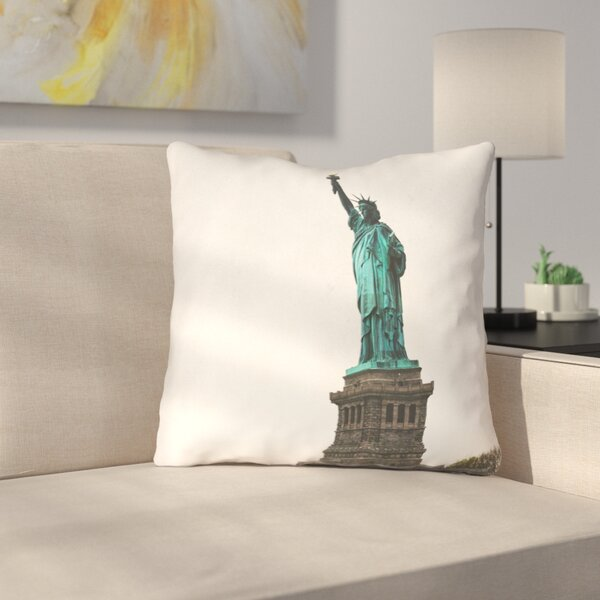 Statue of Liberty Square Outdoor Throw Pillow by East Urban Home