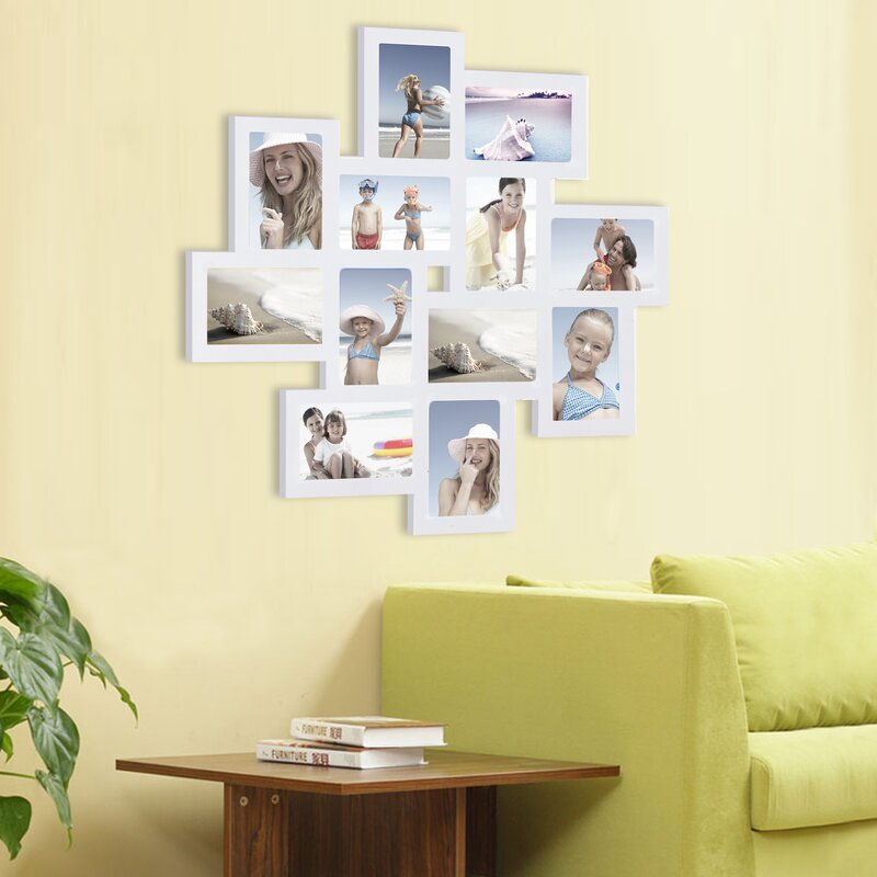 Zipcode Design 12 Opening Wood Photo Collage Wall Hanging Picture ...