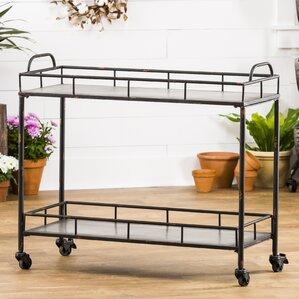 Quan 2-Tier Galvanized Metal Bar Cart by Gracie Oaks