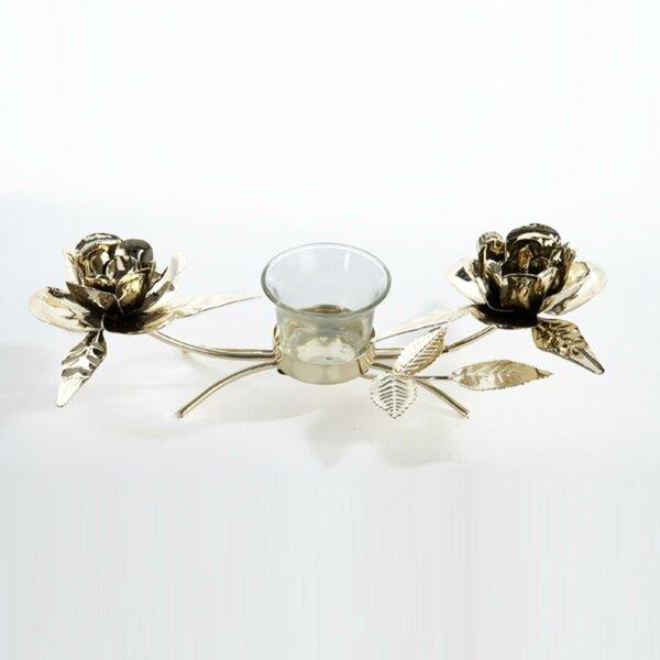 Gold Rose Christmas Metal Candelabra by Mercer41