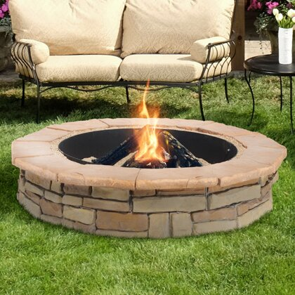 Random Stone Concrete Wood Burning Fire Pit by Natural Concrete Products Co