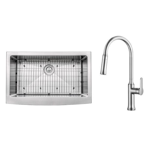 Kitchen Combos 33 L x 20.75 W Farmhouse/Apron Kitchen Sink with Faucet by Kraus