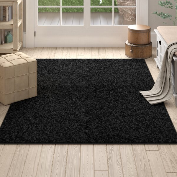 Eleanor Black Indoor Area Rug by Winston Porter