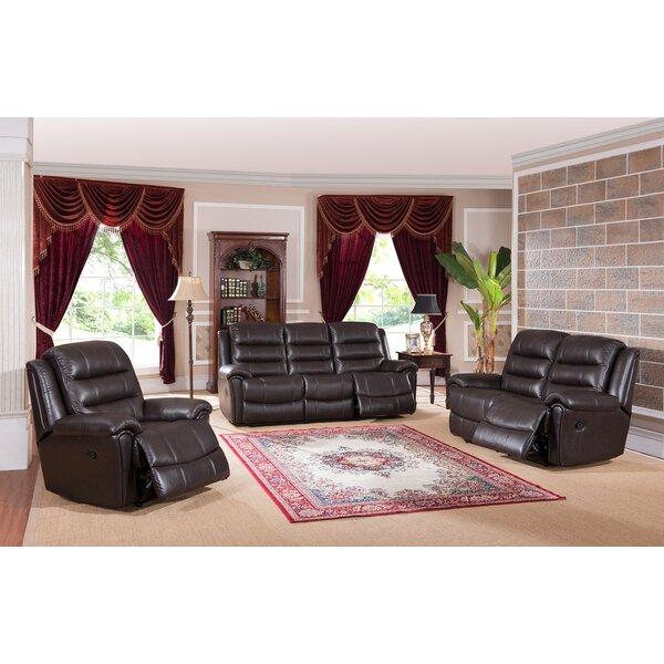 Lorretta Reclining 3 Piece Leather Living Room Set by Red Barrel Studio