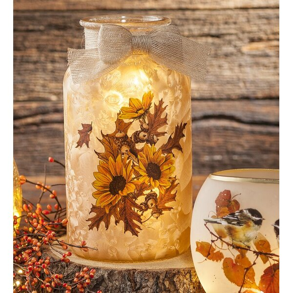 Sunflower Glass Jar Night Light by Plow & Hearth