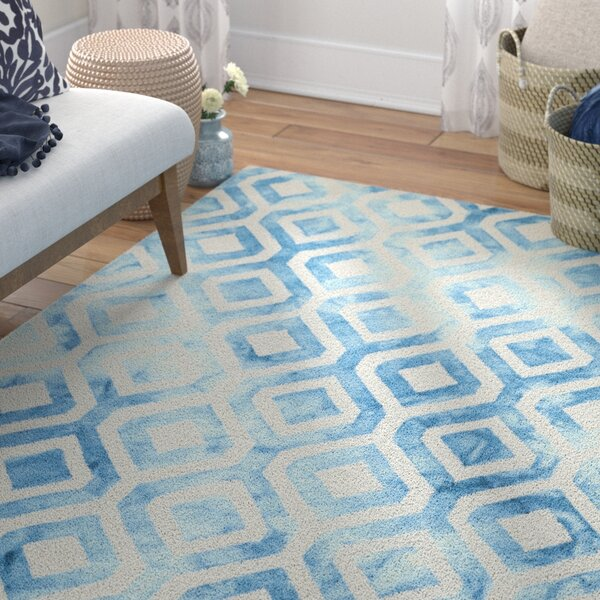 Bettina Hand-Tufted Wool/Cotton Ivory/Blue Area Rug by Willa Arlo Interiors