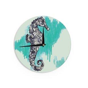 Sonal Nathwani 'Seahorse' 12 Wall Clock by East Urban Home