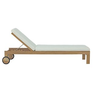 Erler Reclining Teak Chaise Lounge with Cushion By Foundry Select