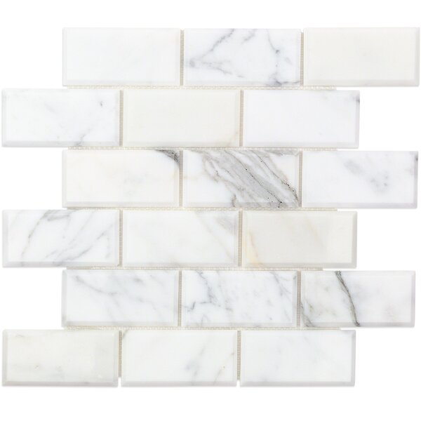 2 x 4 Beveled Marble Mosaic Tile White/Gray by Splashback Tile