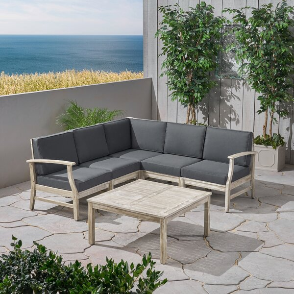 Gianni Outdoor 6 Piece Sectional Seating Group with Cushions by Foundry Select