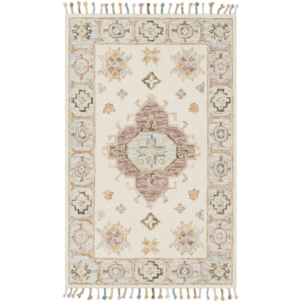 Alongi Hand Hooked Wool Ivory/Gray Area Rug by Bungalow Rose