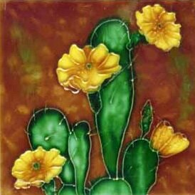 Cactus and Yellow Flowers Tile Wall Decor by Continental Art Center