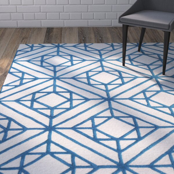 Dewar Diamond Hand Tufted Blue Area Rug by Brayden Studio