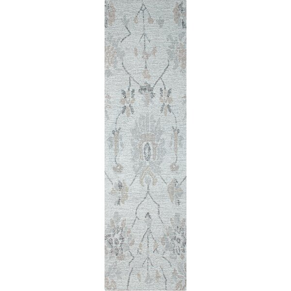 Colorfields Floral Tufted Wool Gray Area Rug