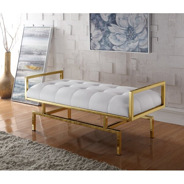 Reuben PU Leather Tufted Bench by Everly Quinn Everly Quinn