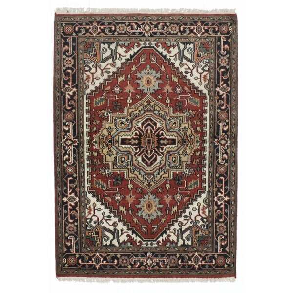 One-of-a-Kind Doerr Hand-Knotted Orange Area Rug by Isabelline