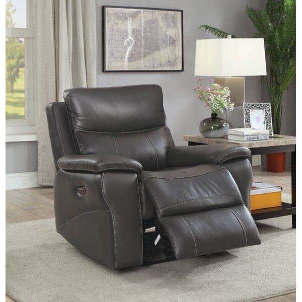 Faulks Leather Power Recliner by Red Barrel Studio Red Barrel Studio