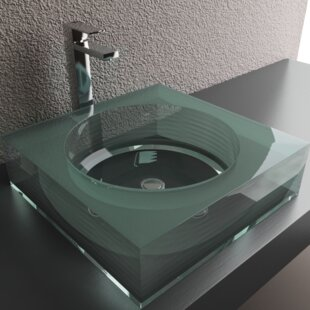 Best Review Layered Glass Square Vessel Bathroom Sink ByCantrio Koncepts