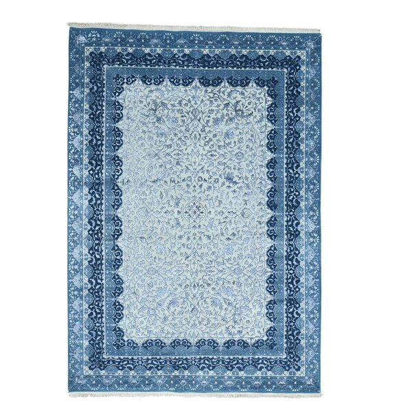 One-of-a-Kind Salzer Half 300 Kpsi Hand-Knotted Ivory/Blue Area Rug by Astoria Grand