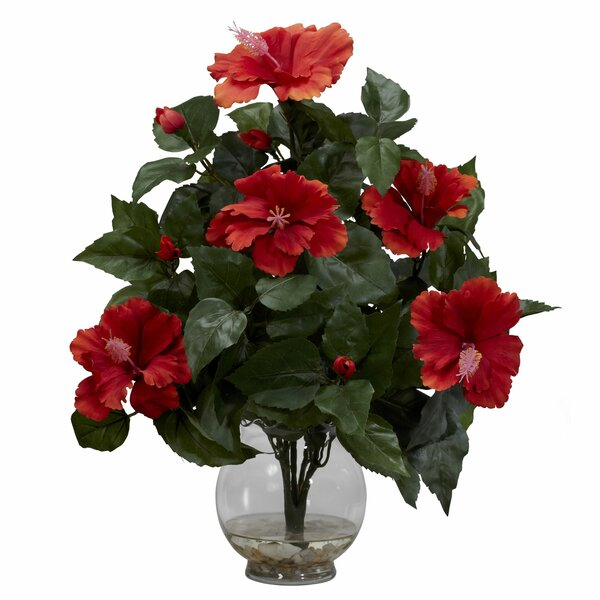 Hibiscus Silk Flower Arrangement in Fluted Vase by Nearly Natural