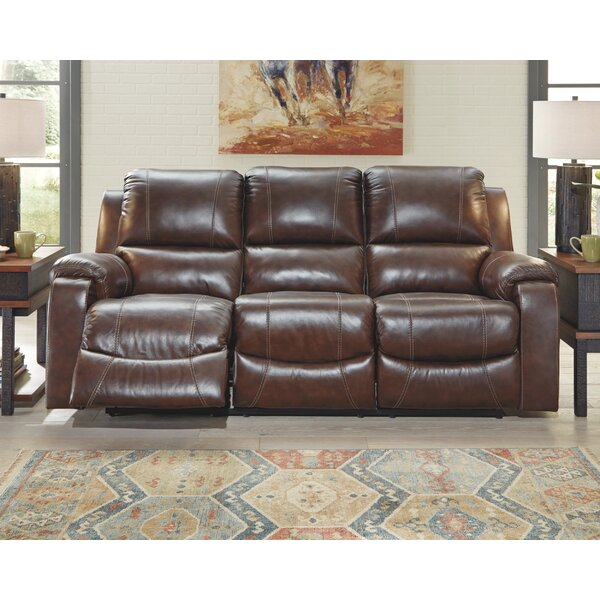 Excellent Reviews Dunmire Leather Reclining Sofa by Millwood Pines by Millwood Pines