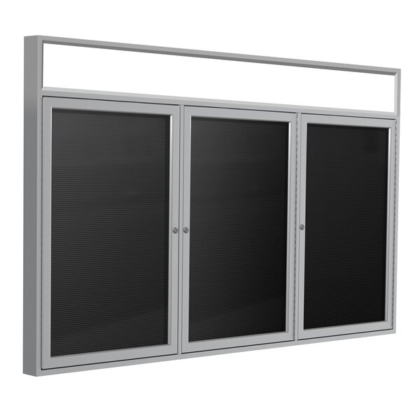 Ghent 3 Door Outdoor Enclosed Vinyl Letter Board with Satin Aluminum Illuminated Headliner Frame by Ghent