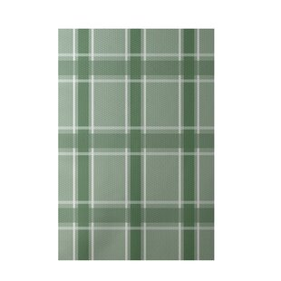 Geometric Hand-Woven Green/White Indoor/Outdoor Area Rug By e by design