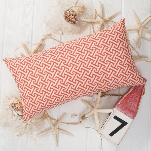Greek Key Outdoor Lumbar Pillow by Grouchy Goose