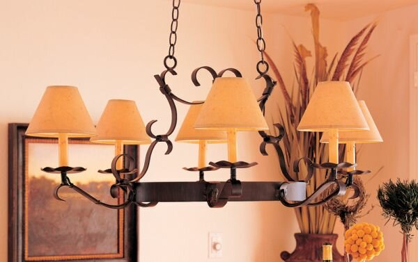 Handforged Oval 6-Light Shaded Wagon Wheel Chandelier By 2nd Ave Design