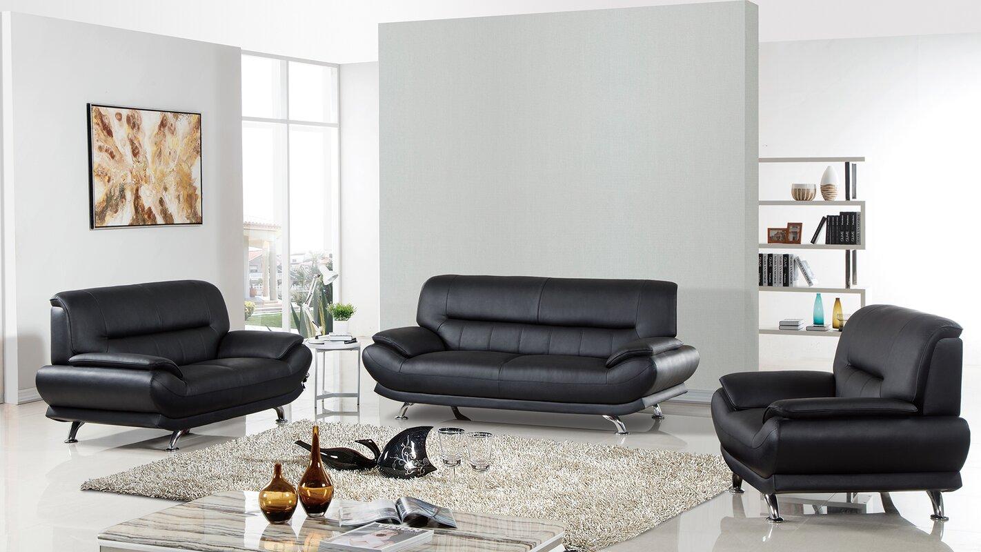 Arcadia Leather 3 Piece Living Room Set