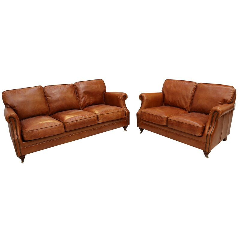 Bobby 2 Piece Leather Sofa Set