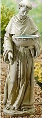 St. Francis Figurine Solar and Lighted Birdbath by Roman, Inc.