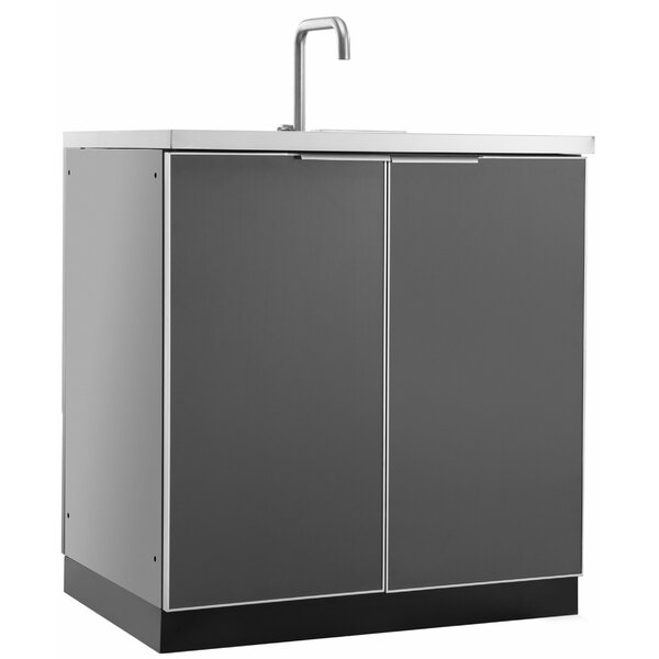 Outdoor Kitchen Aluminum Glass 32 Sink by NewAge Products