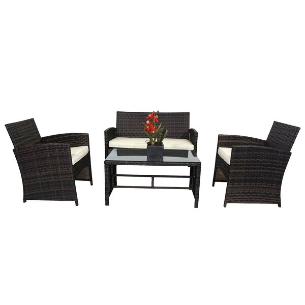 Hargrove 4 Piece Sofa Seating Group with Cushions by Wrought Studio
