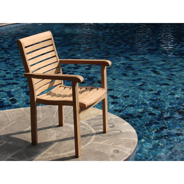 Douberly Stacking Teak Patio Dining Chair by Rosecliff Heights
