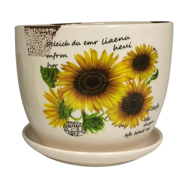 Corinne Sunflower Design Ceramic Mini Pot Planter by August Grove