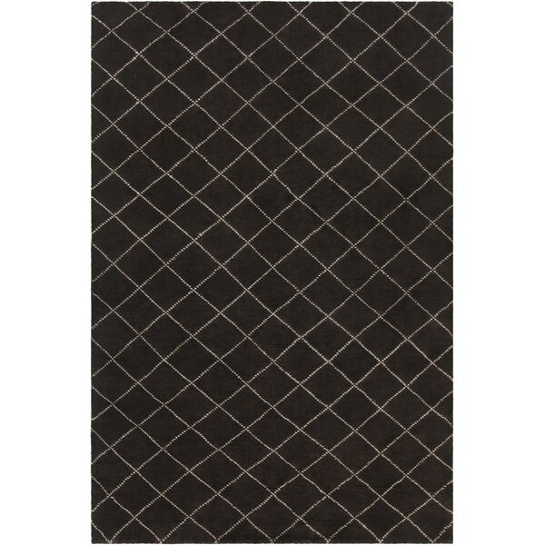 Tenafly Patterned Knotted Contemporary Wool Black/Cream Area Rug by Gracie Oaks