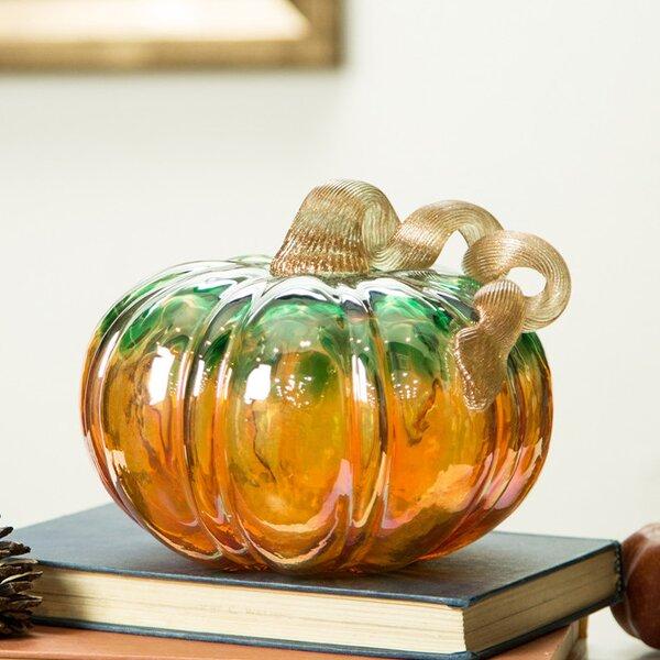 Maddocks Glitter Glass Pumpkin Sculpture by Alcott Hill