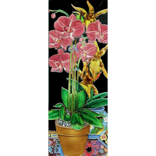Pink Orchid in a Vase Tile Wall Decor by Continental Art Center