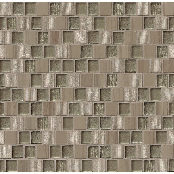 Tessuto  0.75 x 1 Stone and Glass Mosaic Tile in Taupe by Bedrosians