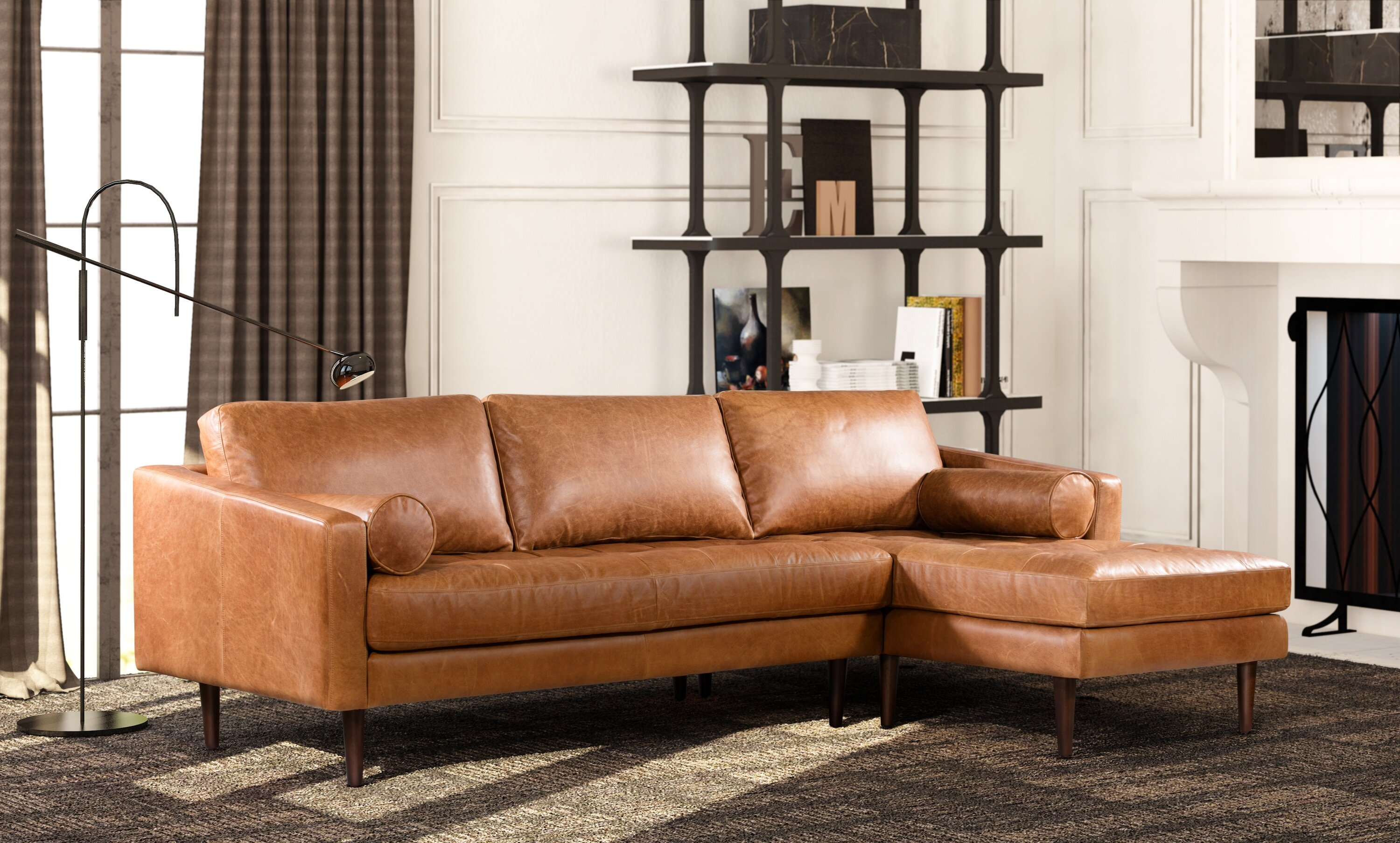 Wondrous Foundry Select Kate Leather Sectional Reviews Wayfair Pabps2019 Chair Design Images Pabps2019Com