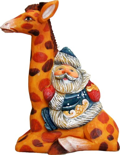 Fifield Santa on Giraffe Figurine Ornament by The Holiday Aisle