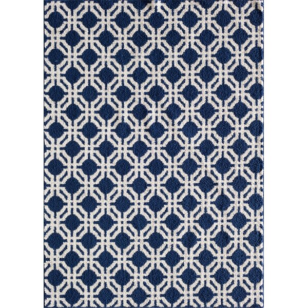 Sandlewood Blue/White Area Rug by Breakwater Bay