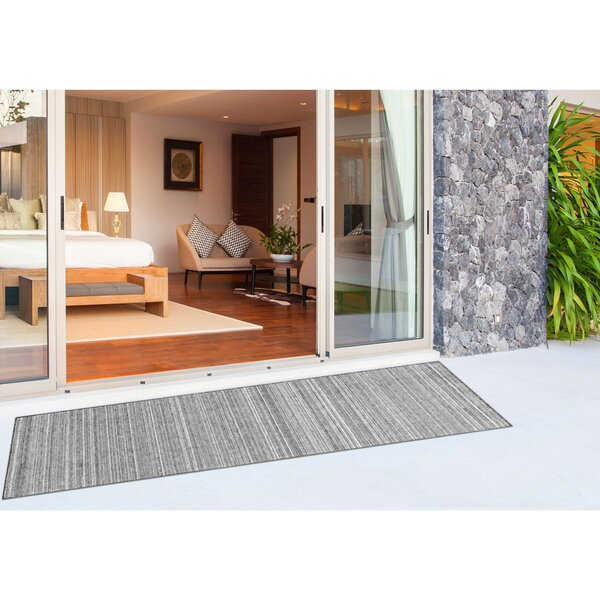 Ryan Stripe Handwoven Flatweave Gray Indoor/Outdoor Area Rug by Gracie Oaks