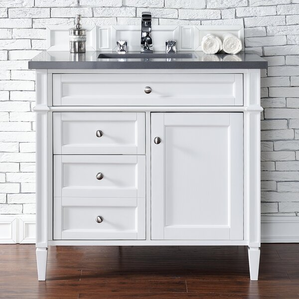 Deleon 36 Single Cottage White Quartz Top Bathroom Vanity Set by Darby Home Co